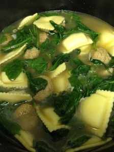 Hot off the stove! 15-minute Turkey Meatball and Tortellini (Ravioli) Spinach Soup